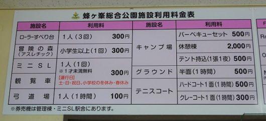 蜂ヶ峯総合公園 料金表
